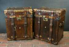 Vintage Handmade English Leather Campaign Style Trunks Chests Side Table