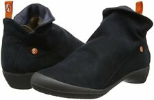Softinos Farah Navy Womens Nubuck Casual Zip Ankle Boots Shoes NOB Smooth | UK 4