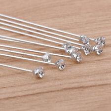 10pcs Crystal Rhinestone Lapel Pin Boutonniere Stick Unisex Brooch 9.6cm