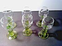 Vintage Set Green Stemmed , Depression Glass, Cordials/Sherry glasses, Stemware