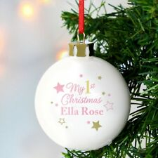 Personalised Gold & Pink Stars My 1st Christmas Bauble Gift Present P0305G75