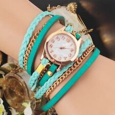Womens Multilayer Faux Leather Bracelet Quartz Watch GREEN - PRICE REDUCED