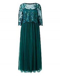 NEW - JOANNA HOPE MESH SKIRT MAXI PARTY/COCKTAIL DRESS EMERALD GREEN UK12