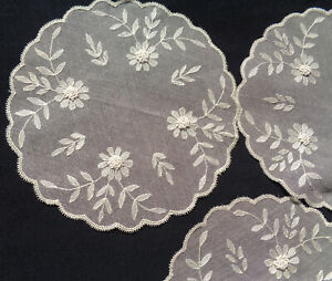 6 B'FUL VTG ART DECO HAND EMBROIDERED TAMBOUR LACE FLOWER & LEAVES SM TABLE MATS