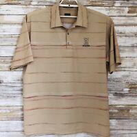 Nike Tiger Woods Golf Polo Mens Shirt Sz L S/S Tan Stripe FIT DRY Ledgestone