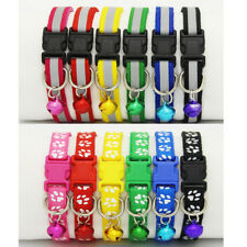 NEW Pet Dog Puppy Cat Nylon Neck Choker Collar Safety Buckle Belt Bell Collar NE