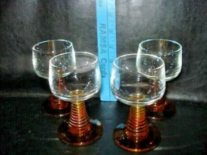 "Set of 4 Vintage Goblets Brown Amber Beehive Stem Wine Glass Cup 4.25"""
