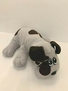 "Vintage 1985 Large Pound Puppy Puppies 18"" Gray Dog Brown Spots Plush Stuffed"