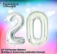 """Giant 20th Birthday Party 40"""" Foil Balloon Helium Air Decoration Age 20 SILVER"""