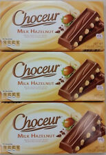 3 X Choceur German Milk Chocolate & Roasted Hazelnut Bars.3 Pack,1/2 lb Bars