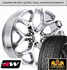 "22 x9"" inch Wheels and 22"" Tires for Chevy Silverado Replica CK156 Chrome Rims"
