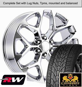 "22"" inch GMC Sierra 1500 Snowflake Wheels Chrome Rims Tires fit Chevy Silverado"