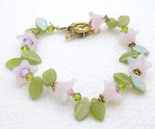 Vintage Gold Tone Pink Crystal Glass Flower Leaf Bead Beaded Bracelet