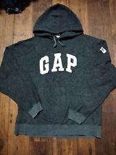 Vintage 90s GAP Athletic Fleece Gray Sweatshirt STITCHED Logo Hoodie Kanye L