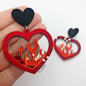 Love Heart Flames Fire Mirrored Laser Cut Acrylic Statement Earrings UK Seller