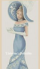 Cross Stitch Chart ELEGANT LADY in Blue Dress w/Bird - No.1-156a(Large Print)