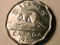 1953 Canada Five Cent Choice BU Semi-Prooflike Elizabeth Canadian Nickel 5C Coin