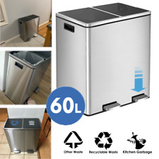 16 Gal Dual Trash Can Recycle Bins Fashion Kitchen Office Non Odor Silence