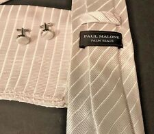 Paul Malone Necktie Pocket Square Cufflinks Silk White Striped Wedding NWOT