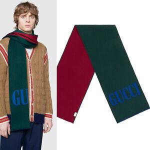 NEW $495 GUCCI Men's Green Bordeaux LOGO JACQUARD WOOL Silk Stole Varsity SCARF