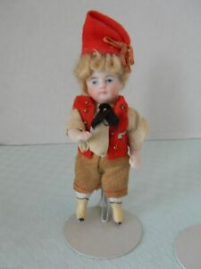 Antique All bisque boy doll fully jointed orig outfit yellow boots socket head