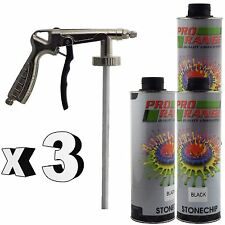 Pro Range 3 x 1 Litre Black Stone Chip + Spray Gun Can be over Painted Paintable