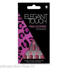 Elegant Touch 24 corto longitud clavos falsos en Rosa leopardo