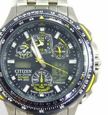 Mens Citizen Eco Drive Skyhawk Blue Angels Chronograph Titanium U600 wrist watch