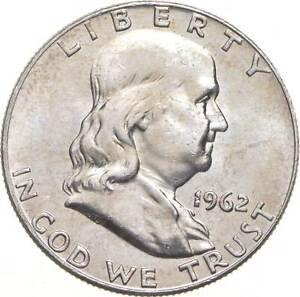 Choice Uncirculated BU MS 1962-D Franklin Half Dollar 90% Silver Tough Coin *929