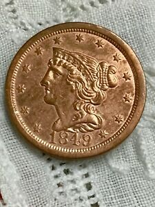 1849 1/2C Braided Hair RB Half Cent Coin Large Date  1/2c BU+ Red?? Make Offer
