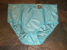 TREASURE AQUA BLUE Silky Smooth Lace Trim Brief Panties Plus Size 10/3X NWT