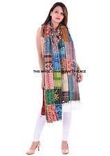 Indian Silk Reversible Ethnic Kantha Shawl Scarf Bohemian Neck Wraps Hippie