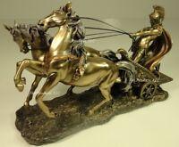 ROMAN GLADIATOR CHARIOT Sculpture Statue Antique Bronze Color