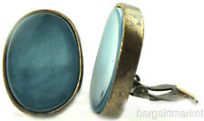 Big Antiqued Gold Finish Blue Green Turquoise Oval Clip On Earring