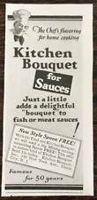 1929 Kitchen Bouquet Ad Chef's Flavoring for Home Cooking Famous for 50 Years