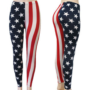 USA Flag Leggings Stars and Stripes Americana Red, White & Blue Soft Comfort Fit