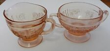 Pink Depression Sharon Cabbage Rose Sugar and Creamer Federal Glass Co. No Lid