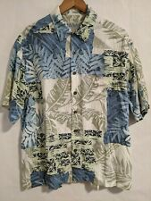 Quicksilver Edition Comfort Fit Rayon Hawaiian Shirt Blue Green Palm Mens Medium