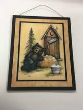 Black Bear occupied outhouse wood sign country bathroom decor decorations cabin