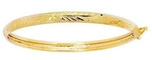 14K Solid Yellow Gold Baby Bangle bracelet Children 5.5