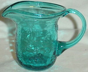 """TURQUOISE or TEAL CRACKLE GLASS PITCHER or CREAMER BLOWN/3.5"""""""