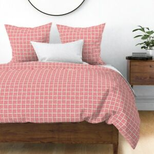 Modern Simple Minimalist Red And Tan Stripes Sateen Duvet Cover by Roostery