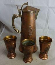 antike Kanne Kupfer + 3 Becher Gebrüder Bing Nürnberg