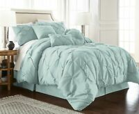 Chezmoi Collection Sydney 7pc Seafoam Green Pinch Pleated Pintuck Comforter Set