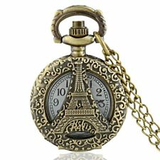 Antique Eiffel Tower Quartz Bronze Vintage Pocket Watch Retro Pendant Chain Gift