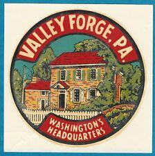 "VINTAGE ORIGINAL 1947 SOUVENIR ""VALLEY FORGE"" PENNSYLVANIA TRAVEL DECAL ART NICE"