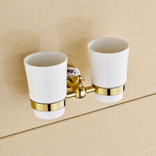 Luxury Gold Finish Wall Mounted Bathroom Toothbrush Holder Double Ceramics Cups