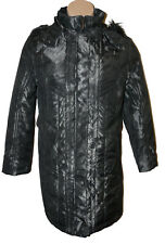 BNWT size Large KLASS COAT w DETACHABLE HOOD & FAUX FUR TRIM in Silver+Black
