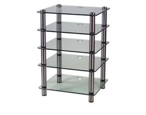 Optimum Prelude OPT5000 5 Tier HiFi Stand Rack Chrome 6mm Clear Safety Glass
