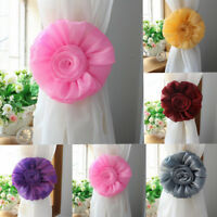 1Pair Rose Flower Curtain Tieback Clip-on Tie Backs Holdbacks Holder Decor